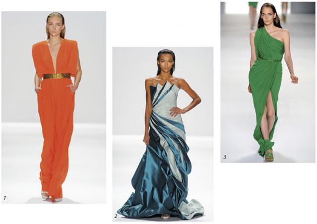 Longos, médios ou curtos, eles estão coloridos! Vestido longo slim ultra decotado, CARLOS MIELE (foto 1); Vestido longo bicolor, CARLOS MIELE (foto 2); Vestido um ombro só com fenda, ELIE SAAB (foto 3).