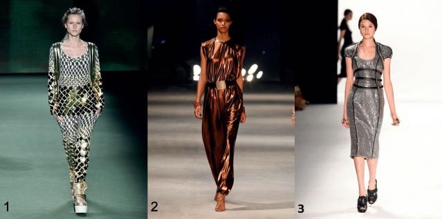 Dourado, bronze ou prata... Os tecidos com efeito metalizado proporcionam sofi sticação e ousadia nos looks. Vestido metal dourado Osklen (foto 1); Vestido bronze Iódice (foto 2); Vestido midi prateado Tufi Duek (foto 3).