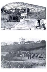 Detalhe da construção do Ginásio, inaugurado em 1982 - Construção da primeira piscina, 1935.