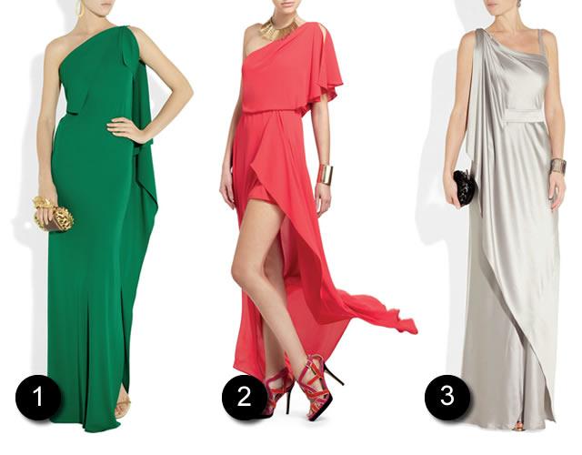 Ouse nas cores! O vestido longo verde ganha charme com o decote um-ombro-só (Foto 1); Moderninho e elegante o vestido vermelho com barra irregular. (Foto 2); Vestido longo off-white, clean e luxuoso. (Foto 3).