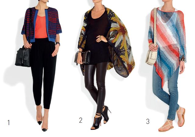 1- Casaquinho de tricot com manga ¾ MISSONI. / 2- Casaco lenço de seda ALEXANDER McQUEEN. / 3- Poncho de tricot leve MISSONI.