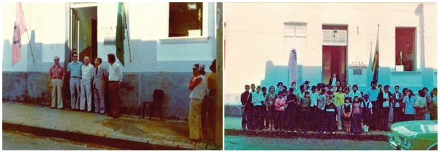 Foto 1: Membros da Apae em 1977. Foto 2: Apae no antigo endereço em 1977.