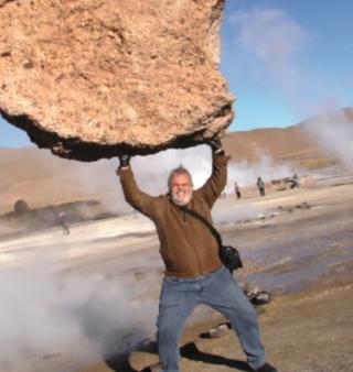 José Armando no Deserto de Atacama a uma temperatura externa de menos 10ºC.