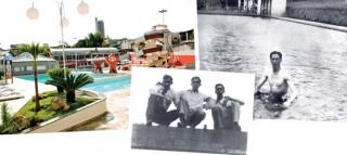 Parque Aquático atual - Antigo bicame que abastecia a piscina. Farid Esper e amigos, 1936 - A piscina e o primeiro vestiário, 1938.