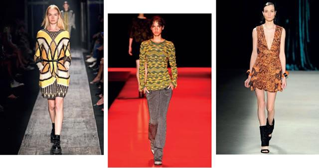 Grafi smos e temas étnicos estamparam as passarelas das semanas de moda nacional. Triton (foto 1); Coven (foto 2); Printing (foto 3).