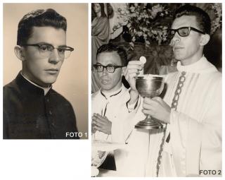 Foto 1: 1959, no seminário. Foto 2: 1966, a 1º missa.