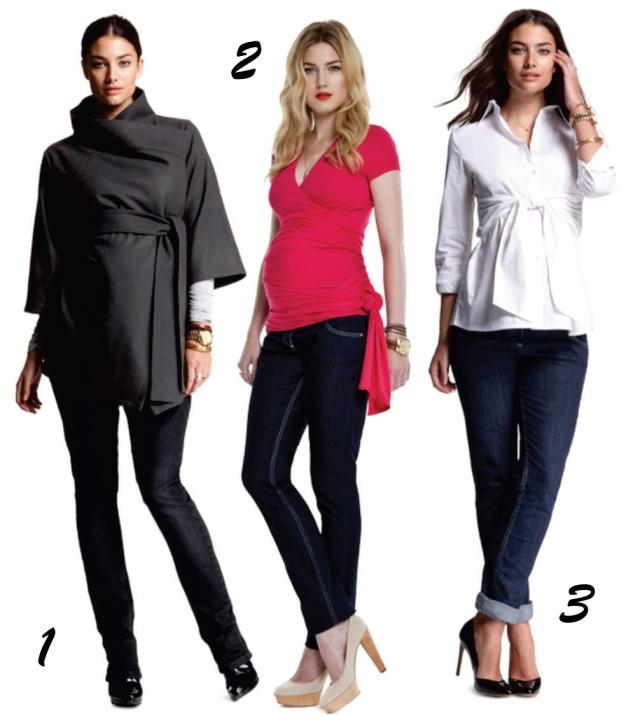 A calça jeans que tem punhos de elásticos na barriga são confortáveis e versáteis, pois acompanham o crescimento da barriga. Para os dias mais frios... O look com casaco kimono e jeans skinny é perfeito (Foto 1). Blusa de malha com amarração lateral e jeans escuro para momentos casuais (Foto 2). Para as mais clássicas, a dica é camisa branca com amarração frontal composta com jeans sequinho (Foto 3).