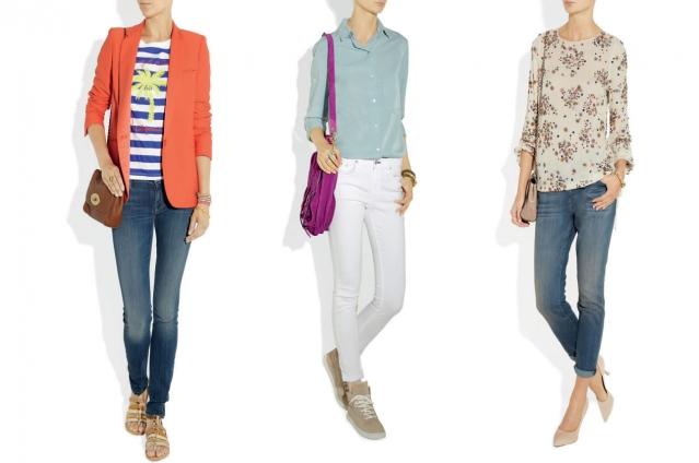 T-shirt combinada com blazer e calça jeans, ideal para as salas com ar condicionado (foto 1). Camisa combinada com calça branca de sarja + tênis e bolsa colorida, bem cool! (foto 2). Combinação perfeita da calça jeans com blusa de seda estampada, (foto 3).