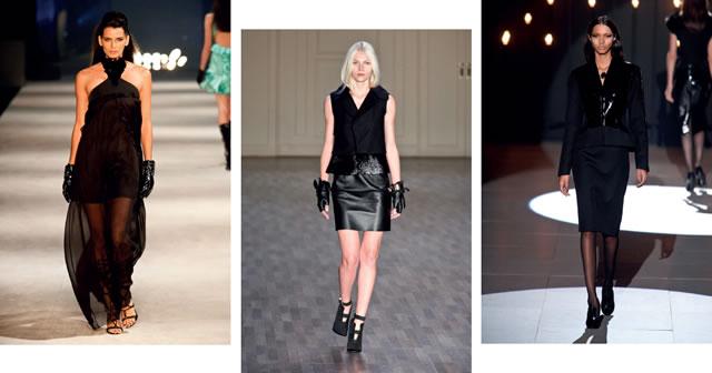 BLACK TOTAL: o bom e velho look inteiramente preto voltou a reinar. Iódice (foto 1); Ellus (foto 2); Reinaldo Lourenço (foto 3).