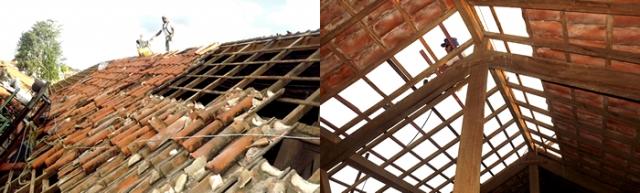 Foto 1: O telhado sendo trocado: reforma já está quase concluída, e possibilitará mais conforto e segurança ao local. Foto 2: A reforma na parte interna.
