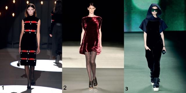 O veludo é a cara do inverno! Vestido justo midi Reinaldo Lourenço (foto 1); Vestido curto Huis Clos (foto 2); Macacão Osklen (foto 3).