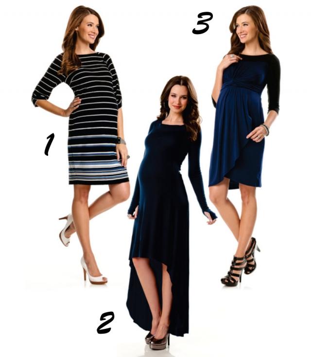 """Vestidos curtos, estilo tubinho, são básicos e indispensáveis no guarda-roupa da gestante. (Foto 1). As mais """"modernetes� podem apostar no modelito com comprimento """"mullet�, o qual a parte da frente é mais curta que a parte de trás (Foto 2). A elegância exala do vestido azul marinho com drapeado e saia envelope (Foto 3)."""