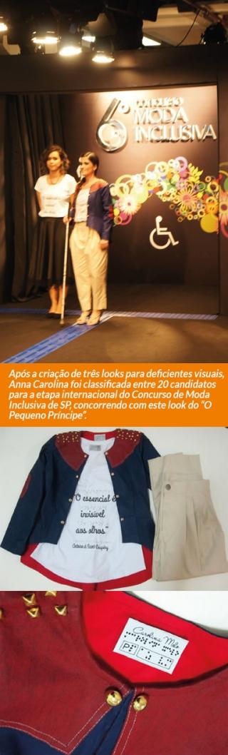 """Após a criação de três looks para deficientes visuais, Anna Carolina foi classificada entre 20 candidatos para a etapa internacional do Concurso de Moda Inclusiva de SP, concorrendo com este look do """"O Pequeno Príncipe�."""