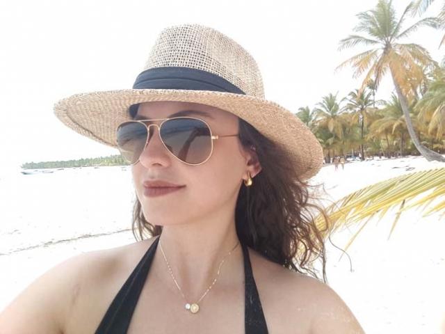 Vanessa na Ilha de Saona.