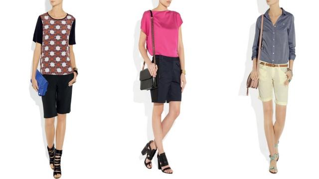 """Shorts para ambientes informais. O look com t-shirt estampada é descontraído e elegante ao mesmo tempo (foto 1). A blusa de seda pink quebra a sobriedade do preto e produz um look charmoso (foto 2). A camisa jeans combinada com shorts colorido traz """"bossa� e casualidade ao visual (foto 3)."""