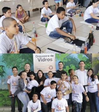 Membros do Rotaract, Maestro Luiz Henrique Del Rey e crianças componentes da Orquestra de Vidro.