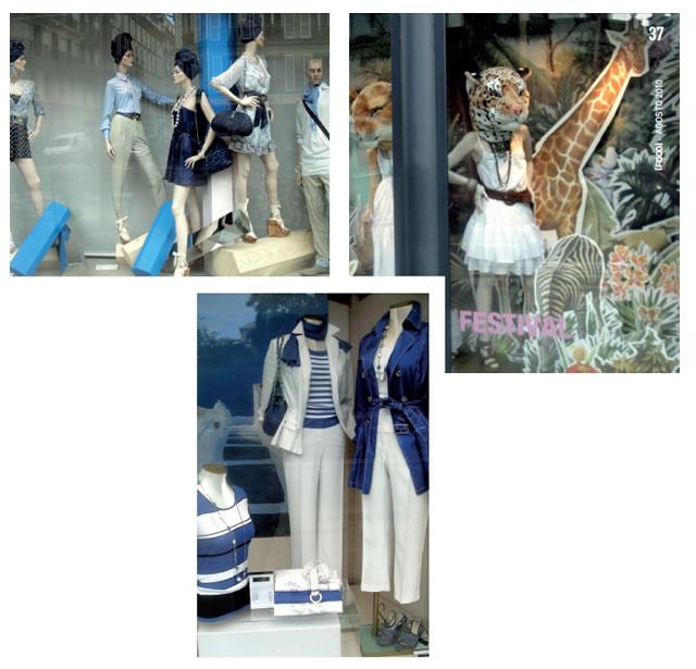 A elegância da moda Francesa é mostrada em suas vitrines.