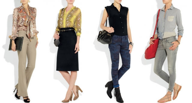 """Camisa com laço de cetim combinada com calça slim bege, super clássicooo! (foto 1). Camisa de seda estampada combinada com saia preta, ideal para as mais """"classudas�!!! (foto 2). A camisa sem mangas complementa o look moderninho composto por calça estampada e botinhas de cano curto (foto 3). Jeans total: calça + camisa! (foto 4)."""