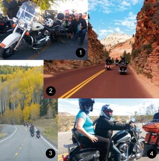 Foto 1: Harley Davidson - Heritage- 1600cc - Las Vegas - Nevada. / Foto 2: Rumo ao Parque ZION - Utah. / Foto 3: Alpes amarelos - Rumo ao Bryce Canyon - Utah. / Foto 4: Saindo de Laughlin - Nevada.