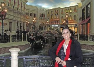 No Hotel Venetian: réplica de Veneza.
