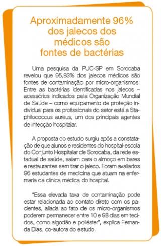 Aproximadamente 96% dos jalecos dos médicos são fontes de bactérias